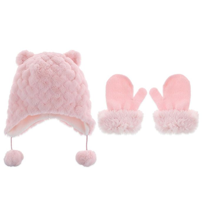 Alternate image 1 for Capelli New York 2-Piece Faux Fur Bunny Hat and Mitten Set in Pink