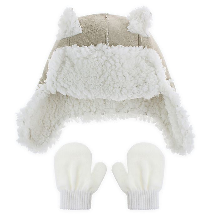 15988f34935 Capelli New York 2-Piece Faux Shearling Bear Trapper Hat and Mitten Set in  Beige