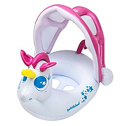 My Unicorn Baby Boat with Sun Shade in White/Pink