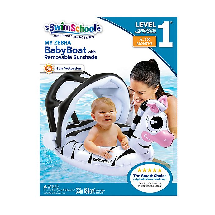 Alternate image 1 for My Zebra Baby Boat with Sun Shade in White/Black