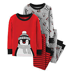 carter's® 4-Piece Penguin Shirt and Pant Pajama Set in Red
