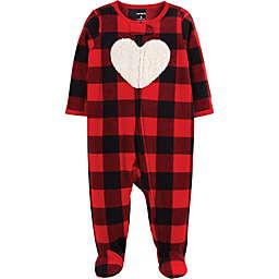 carter's® Zip-Front Buffalo Check Heart Fleece Sleep & Play Footie in Red