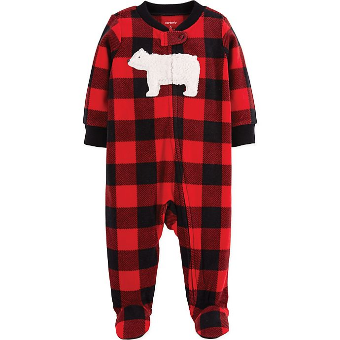 c84ac5f0a8b9 carter s® Zip-Front Buffalo Check Fleece Sleep   Play Footie in Red ...