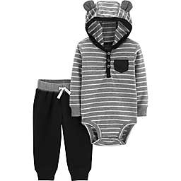 c7cf1e98b carter's® 2-Piece Striped Hooded Henley Bodysuit and Pant Set in Grey/Black