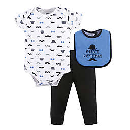 Hudson Baby® Size 3-6M 3-Piece Gentleman Bodysuit, Pant, and Bib Set in Blue