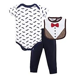 Hudson Baby® 3-Piece Bow Tie Bodysuit, Pant, and Bib Set in Black