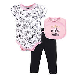 Hudson Baby® 3-Piece Princess Bodysuit, Pant, and Bib Set in Pink