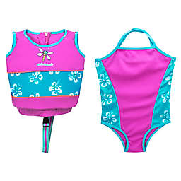 2-Piece Swimsuit and Swim Vest Trainer Set in Pink/Blue