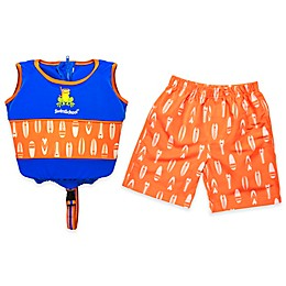 2-Piece Swim Short and Swim Vest Trainer Set in Blue/Orange