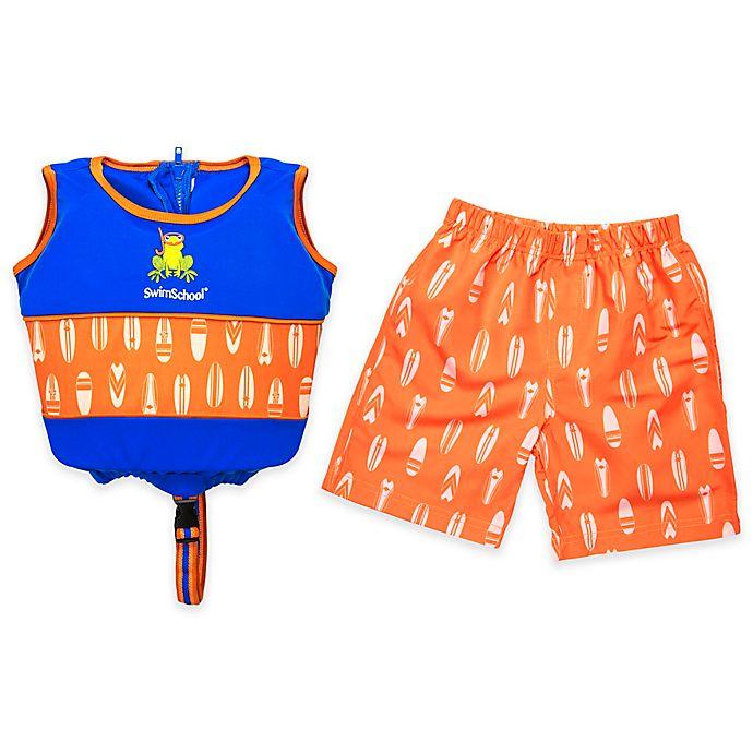 Alternate image 1 for 2-Piece Swim Short and Swim Vest Trainer Set in Blue/Orange