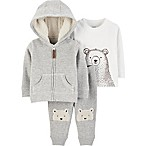 carter's® 3-Piece Ivy Bear 3M Hoodie, Shirt and Pants Set in Ivory