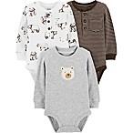 carter's® Size 3M 3-Pack Bear Bodysuits in Cream/Grey