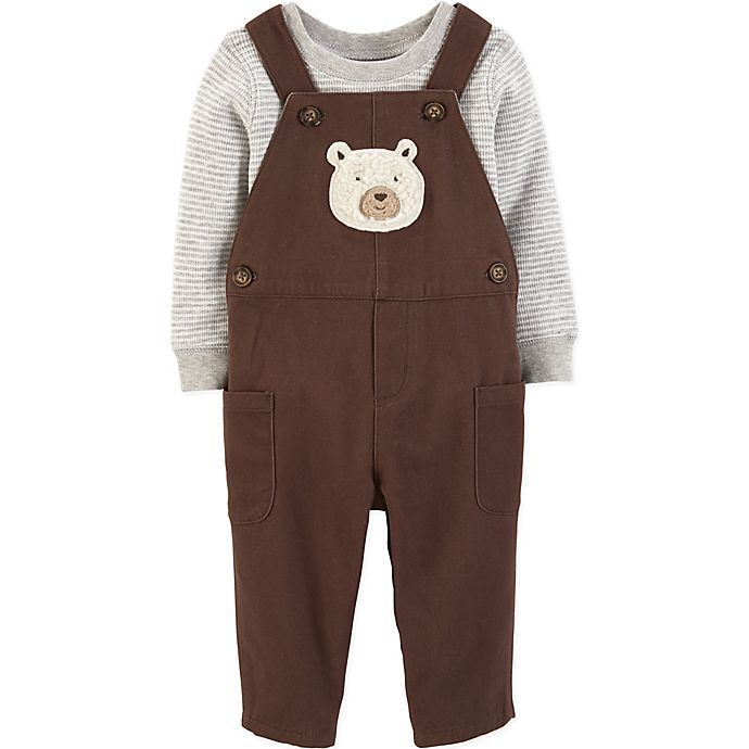 Alternate image 1 for carter's® 2-Piece Ivy Bear Overall and Shirt Set in Grey