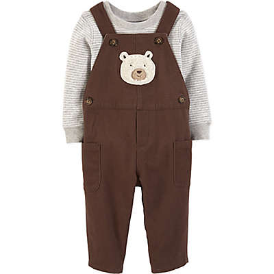 carter's® 2-Piece Ivy Bear Overall and Shirt Set in Grey