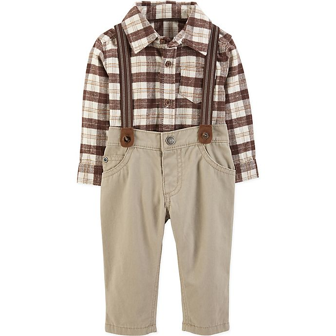 Alternate image 1 for carter's® 3-Piece Flannel Shirt, Suspenders and Pant Set in Ivory