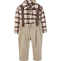 carter's® 3-Piece Flannel Shirt, Suspenders and Pant Set in Ivory
