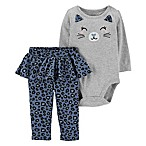 carter's Size 9M 2-Piece Cat Face Bodysuit and Cheetah Pant in Grey