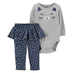 carter's 2-Piece Cat Face Bodysuit and Cheetah Pant in Grey