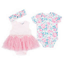 Nicole Miller NY 3-Piece Floral Layette Set in Pink
