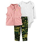 carter's® Size 3M 3-Piece Quilted Vest, Bodysuit, and Pant Set in Pink