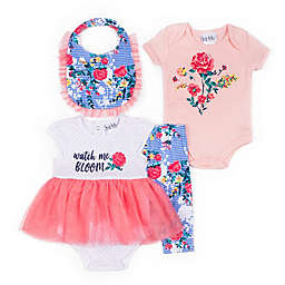 Nicole Miller NY 4-Piece Watch Me Bloom Layette Set in Coral