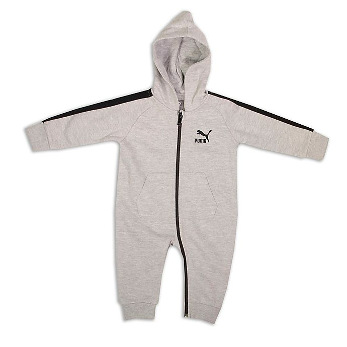 Alternate image 1 for Puma® Size 3-6M Hooded Coverall in Heather Grey
