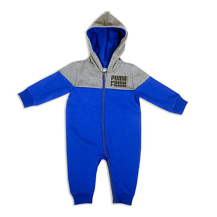 Alternate image 1 for Puma® Size 6-9M Hooded Coverall in Royal Blue/Charcoal Heather