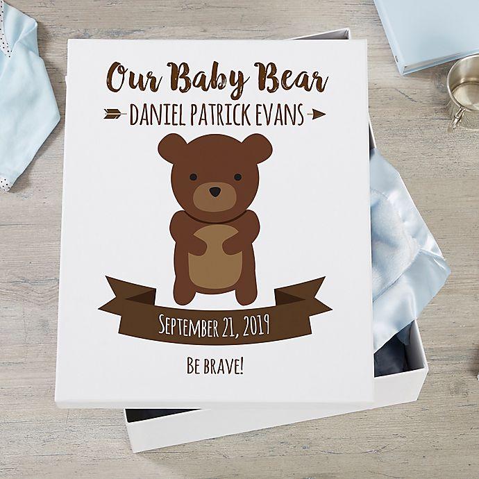 Alternate image 1 for Woodland Adventure Bear Personalized Baby Keepsake Box