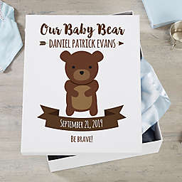 Woodland Adventure Bear Personalized Baby Keepsake Box