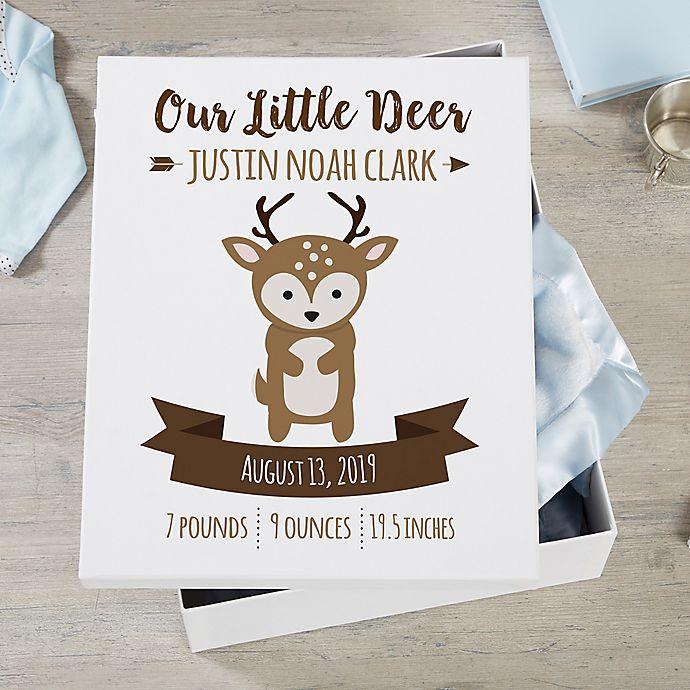 Alternate image 1 for Woodland Adventure Deer Personalized Baby Keepsake Box