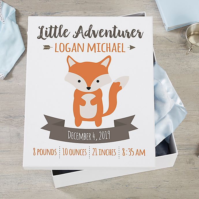 Alternate image 1 for Woodland Adventure Fox Personalized Baby Keepsake Box