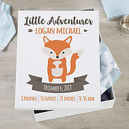 Woodland Adventure Fox Personalized Baby Keepsake Box