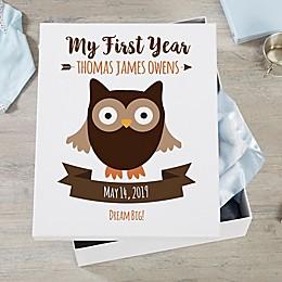 Woodland Adventure Owl Personalized Baby Keepsake Box