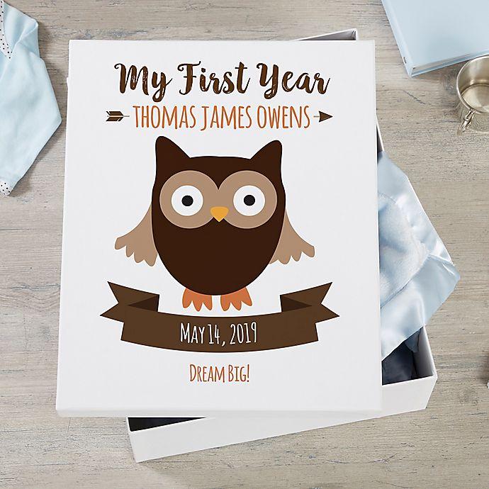 Alternate image 1 for Woodland Adventure Owl Personalized Baby Keepsake Box