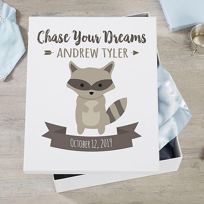 Alternate image 1 for Woodland Adventure Raccoon Personalized Baby Keepsake Box