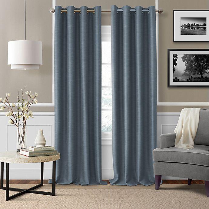 Alternate image 1 for Brooke Woven 108-Inch Room Darkening Window Curtain Panel in Navy