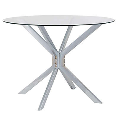 Channing 42-Inch Glass and Chrome Round Dining Table