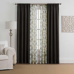 Marrakesh 4-Pack 108-Inch Rod Pocket Solid with Printed Voile Window Curtain Panels in Charcoal