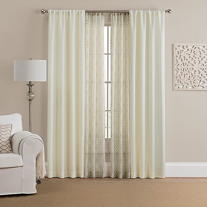 Alternate image 1 for Morris Solid 4-Pack 108-Inch Rod Pocket Window Curtain Panels with Printed Voile in Beige