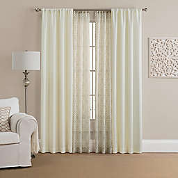 Morris Solid 4-Pack 108-Inch Rod Pocket Window Curtain Panels with Printed Voile in Beige