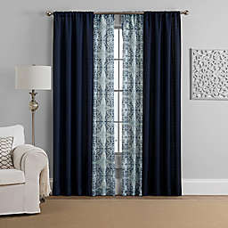 Morris 4-Pack 108-Inch Rod Pocket Solid and Printed Voile Window Curtain Panels in Indigo