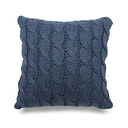Cable Knitted 18-Inch Square Throw Pillow in Heather Blue