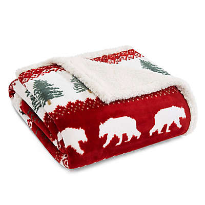 Eddie Bauer® Grizzly Peak Sherpa Throw in Red