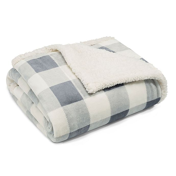 Alternate image 1 for Eddie Bauer® Mountain Plaid Sherpa Throw in Chrome
