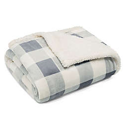 Eddie Bauer® Mountain Plaid Sherpa Throw in Chrome