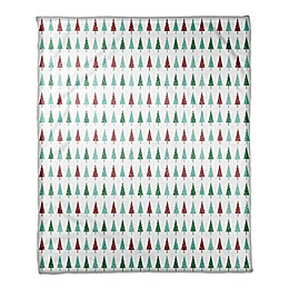 Designs Direct Simple Christmas Trees Throw Blanket in Green