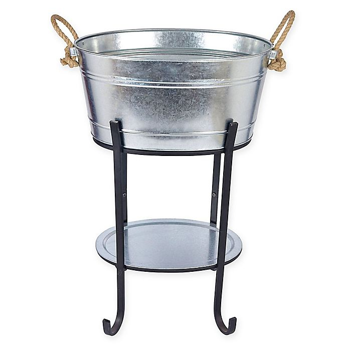 Galvanized 3 Piece Beverage Tub With Tray And Stand In Silver