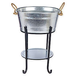 Galvanized 3-Piece Beverage Tub with Tray and Stand in Silver