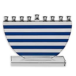 Blue Stripes Hanukkah Menorah