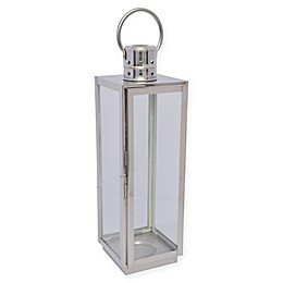 Stainless Steel Square Lantern Candle Holder in Chrome